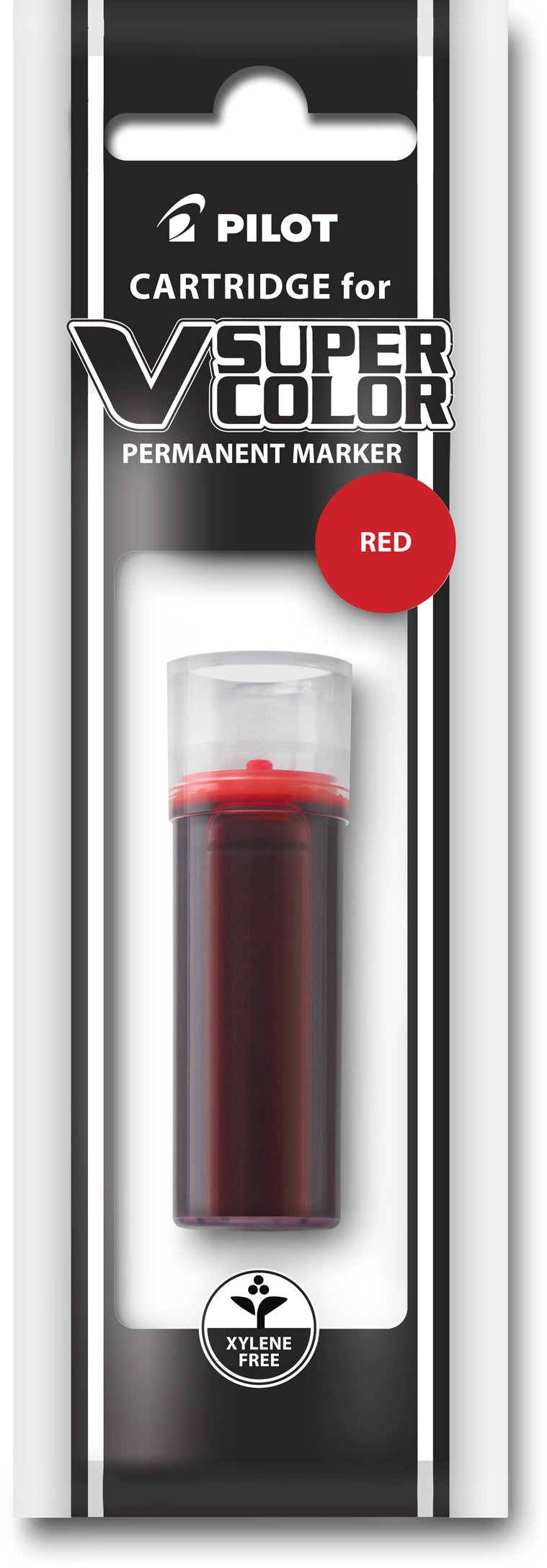 Pilot V Super Color Permanent Marker Ink Refill Cartridge, Xylene-Free, Red Ink (43910)