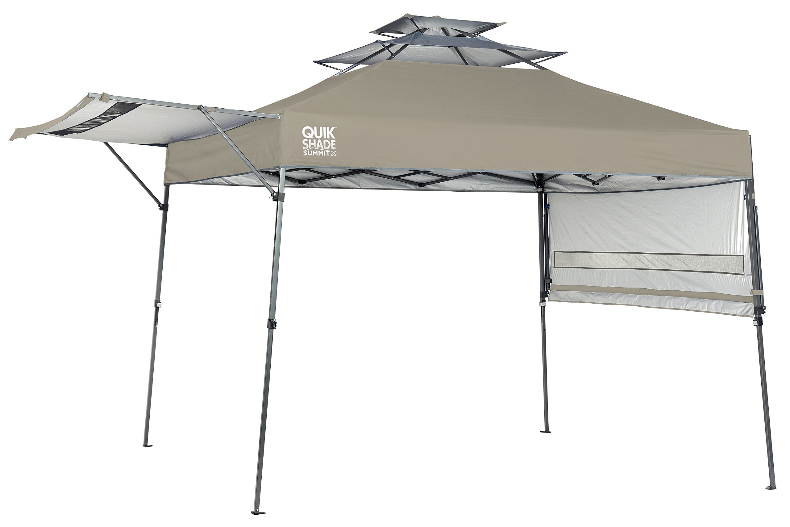 Quik Shade Summit 10 x 17-Foot Instant Canopy with Adjustable Dual Half Awnings, 170 Square Feet of Shade for 15 People - Taupe