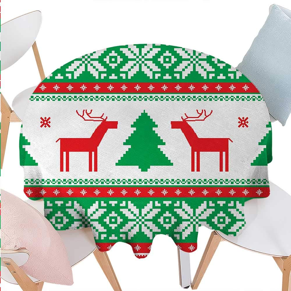 cobeDecor Christmas Dinning Round Tabletop DecorKnit Style Graphic Reindeer Figure Star and Snowflake Holiday Family Theme Round Table Cover for Kitchen D70 Red Green White