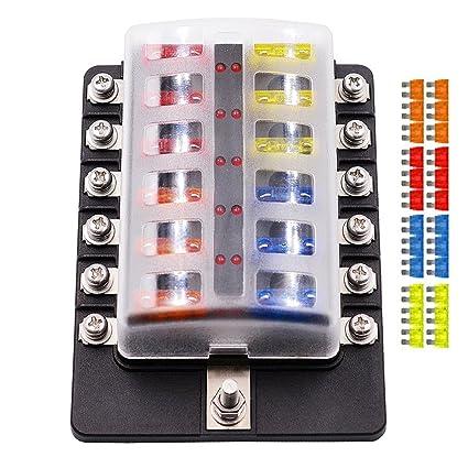 amazon com fuse box holder,12 way blade fuse box holder with led home breaker box fuse box holder,12 way blade fuse box holder with led warning light kit for