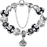 Souarts Womens Silver Tone Snake Chain Glass Beads Heart Charm Bracelet with Safety Chain 20cm