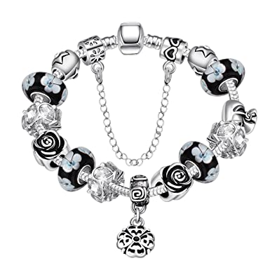 Souarts Womens Silver Tone Snake Chain Glass Bead Heart Charm Bracelet with Safety Chain 20cm f2Q5RWzsD9