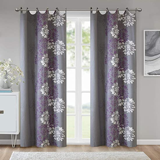 1 Piece Girls Lavender Floral Window Curtain 84 Inch Single Panel, Silver Grey Color Flowers Printed Hippy Bohemian Window Treatment, Garden Themed Elegant Sophisticated Natural Grommet Top, Cotton