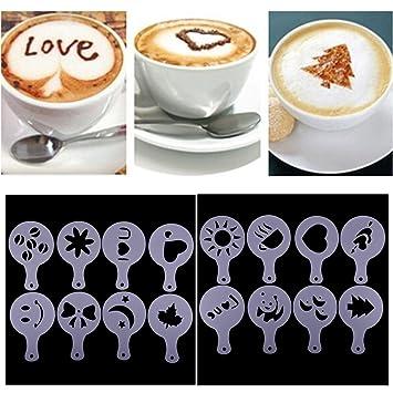 Set de 16 Spray de espuma de leche capuchino Barista plantillas plantilla de molde decorar capuchinos, herramienta para Navidad Cafe Home Latte café para ...