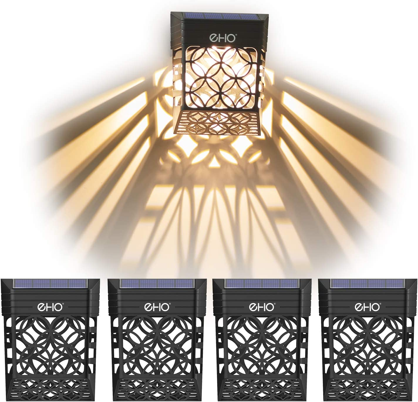 EHO Solar Deck Lights, Solar Fence Lights Outdoor Waterproof LED Garden Decorative Lighting for Post,Patio, Front Door, Step, Stair, Landscape and Yard, Warm White, 4 Pack