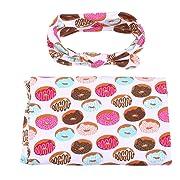 YiZYiF Newborn Baby Swaddle Wrap Photography Blanket With Flower Headband Set (Doughnut)