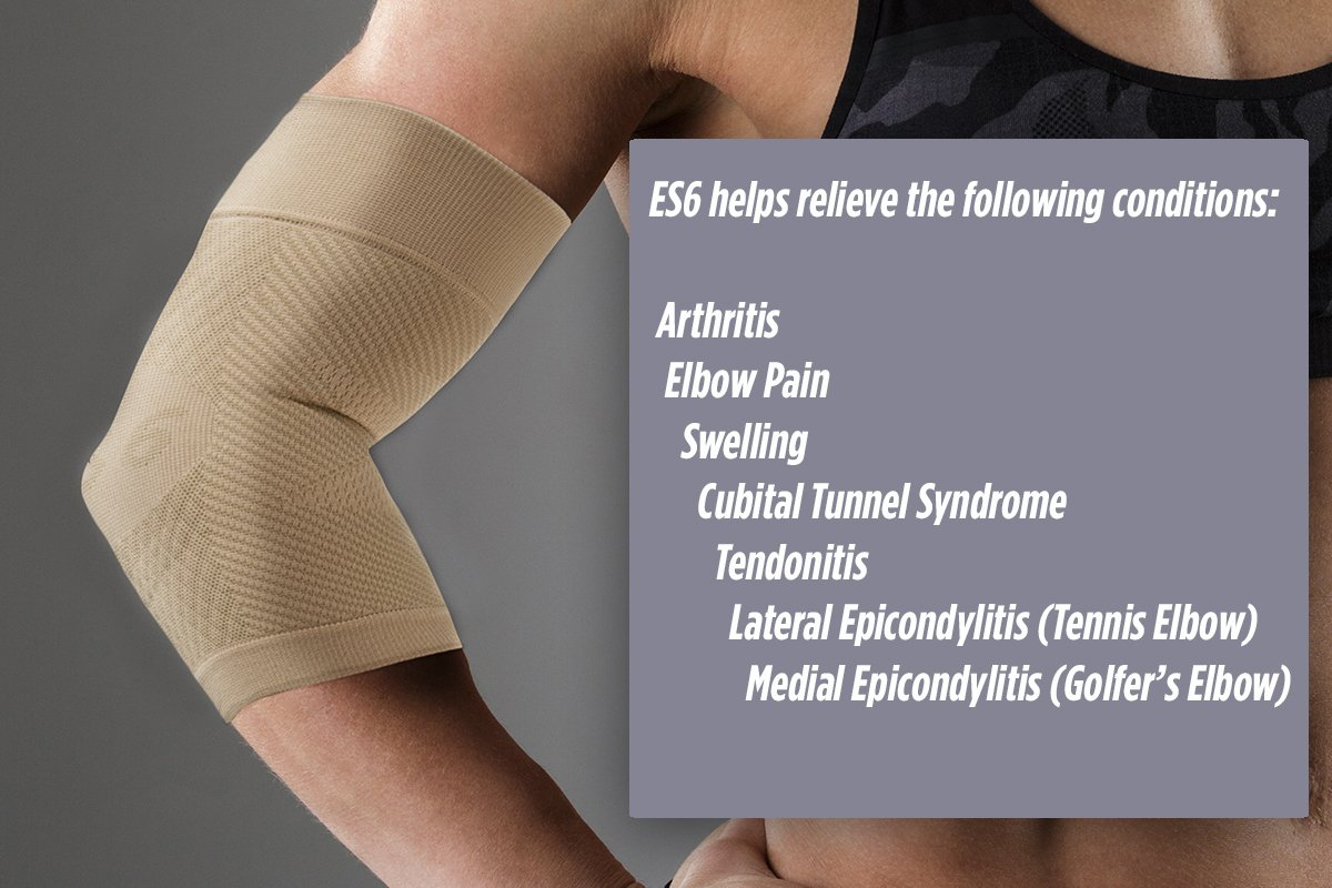 cbf85b1d02 Amazon.com: OrthoSleeve ES6 Elbow Bracing Sleeve (One Sleeve) relieves  Tennis and Golfer's Elbow Pain, General Elbow Pain, Forearm Pain and  Reduces Swelling ...