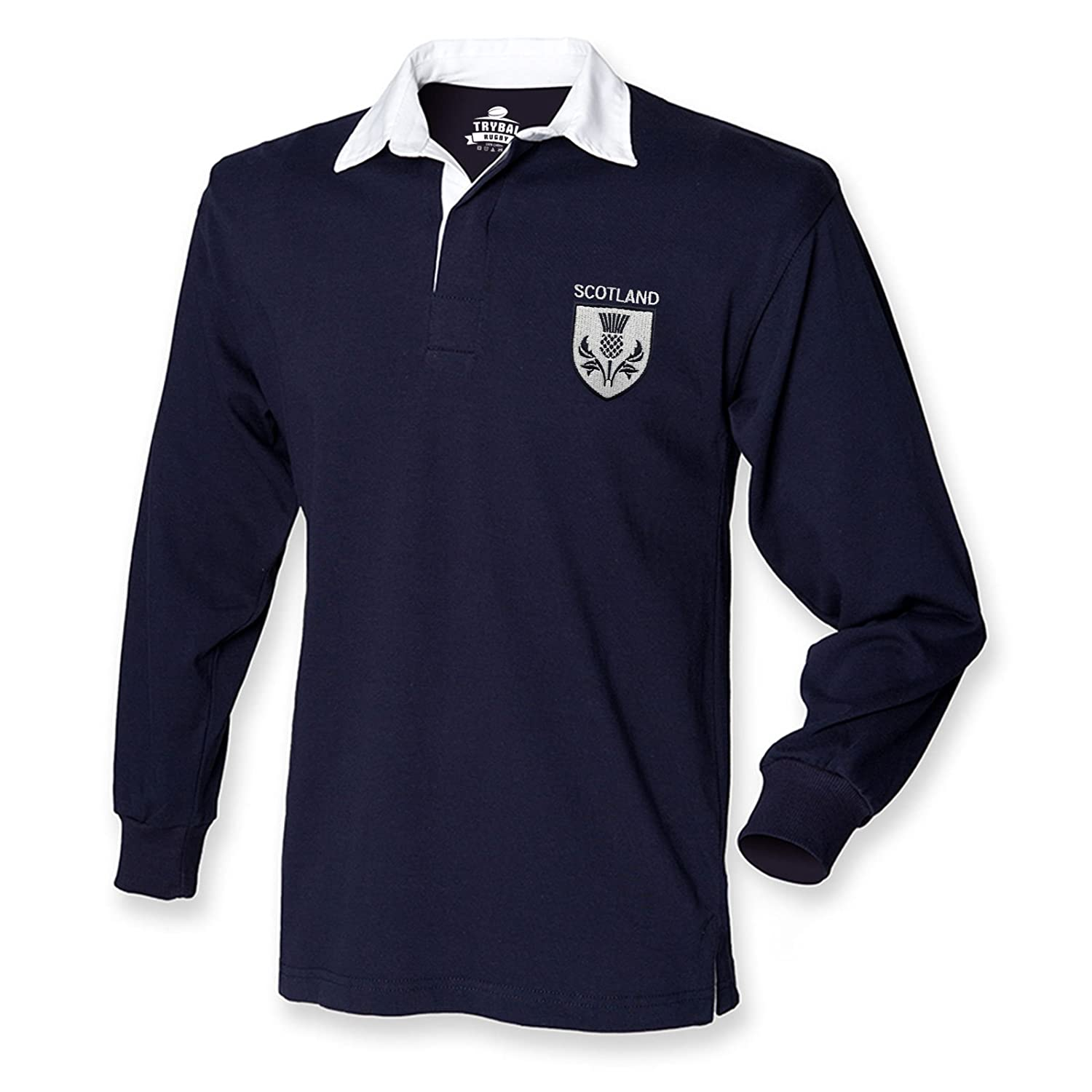 f156248ac Scotland Rugby Shirt - Mens Navy Long Sleeve Top - Embroidered Scottish  Thistle Badge: Amazon.co.uk: Clothing