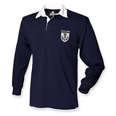 038d6984780 Scotland Rugby Shirt - Mens Navy Long Sleeve Top - Embroidered Scottish  Thistle Badge: Amazon.co.uk: Clothing