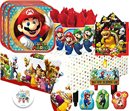 Super Mario Bros - Juego de vajilla para fiesta de cumpleaños infantil para 16 invitados con platos