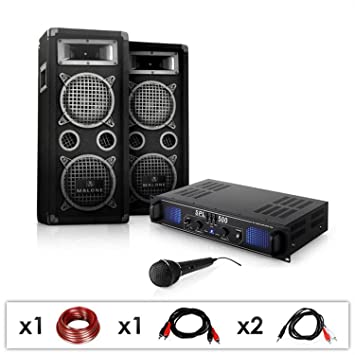 Set PA DJ-25 Amplificador con pareja de altavoces y micrófonos (1600W de potencia, subwoofers de 20 cm, equipo para fiestas y eventos): Amazon.es: ...