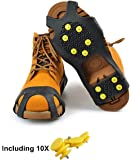VICWARM Ice Cleats Traction Anti Slip Over shoes/Boot 10 Studs Snow Ice Grips Crampons Cleats Spikes