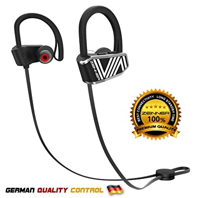 Bluetooth Sport Headphones by ZEINNER Black Wireless Handsfree Earphones w Mic IPX7 Sweatproof HD Stereo Earbuds for Fitness Gym Running Workout with 9 Hour Battery Noise Cancelling Pair Headsets