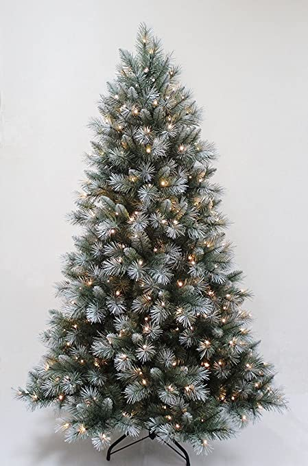 FB FunkyBuys® Pre-Lit 7FT,210cm Frosted Green Christmas Tree 1000+ Tips - FB FunkyBuys® Pre-Lit 7FT,210cm Frosted Green Christmas Tree 1000+