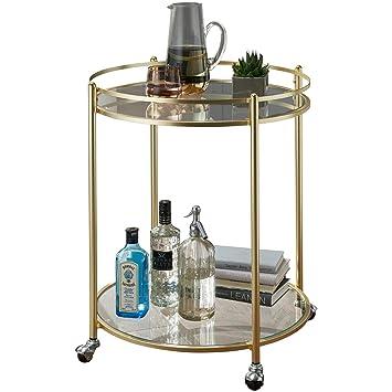 KS-Furniture James Gold - Carrito de Cocina (Mesa Auxiliar, 57 cm de