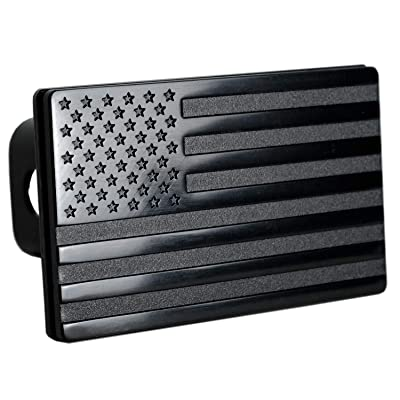 """USA American Flag Metal Trailer Hitch Cover (Fits 2"""" Receivers, Black): Automotive"""