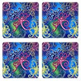 Luxlady Square Coasters Non-Slip Natural Rubber Desk Coasters ID: 39797814 detailed patterns of Borneo Indonesia batik cloth