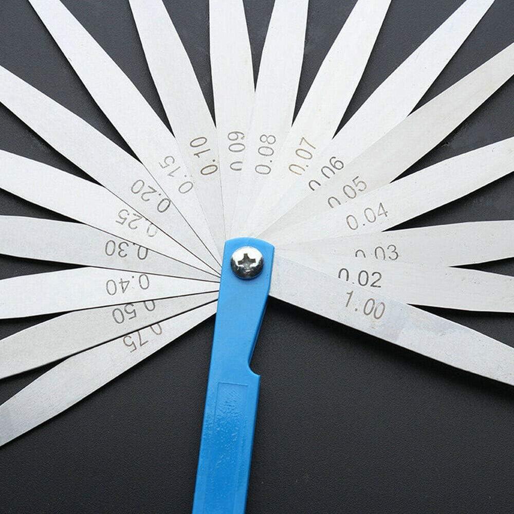 lot de 1 outil de mesure des /écarts m/étriques marqu/és argent BE-TOOL Jauge d/épaisseur 10 lames en acier inoxydable