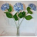 Artificial 69cm 3 x Single Stem Hydrangea Flower - Blue