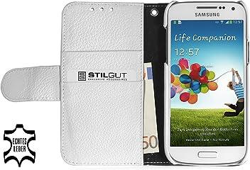 StilGut Talis Book Type custodia in vera pelle per Samsung Galaxy S4 Mini (i9195) con scomparti per carte di credito, biglietti da visita e banconote, bianco