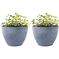 """Flower Pot Garden Planters 12"""" - 2 Pack Outdoor Indoor, Unbreakable Resin Plant Containers with Drain Hole, Grey"""
