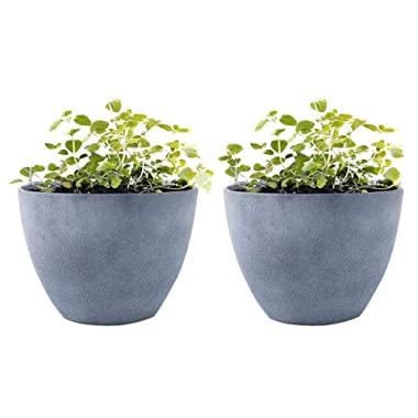 Flower Pot Garden Planters 12  - 2 Pack Outdoor Indoor, Unbreakable Resin Plant Containers with Drain Hole, Grey