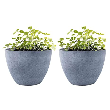 225 & LA JOLIE MUSE Flower Pot Garden Planters Outdoor Indoor Resin Plant Containers with Drain Hole Grey(12 Inch Pack 2)