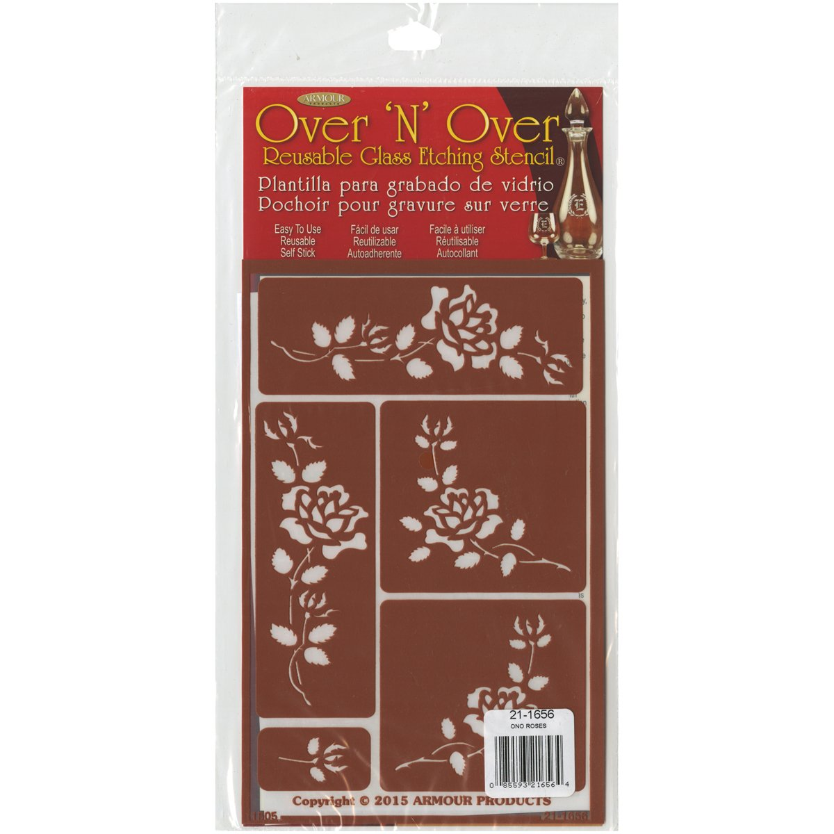 Armour Products Over N Over Glass Etching Stencil, 5-Inch by 8-Inch, Roses 21-1656