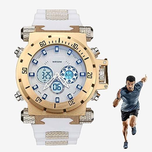XIGG Reloj Digital Hombre Deportivo Relojes Sumergible Relojes de Pulsera Grande Analogico, con Alarma, Big Face Military Muñeca Relojes al Aire Libre Impermeable Deporte,Goldenwhite: Amazon.es: Jardín