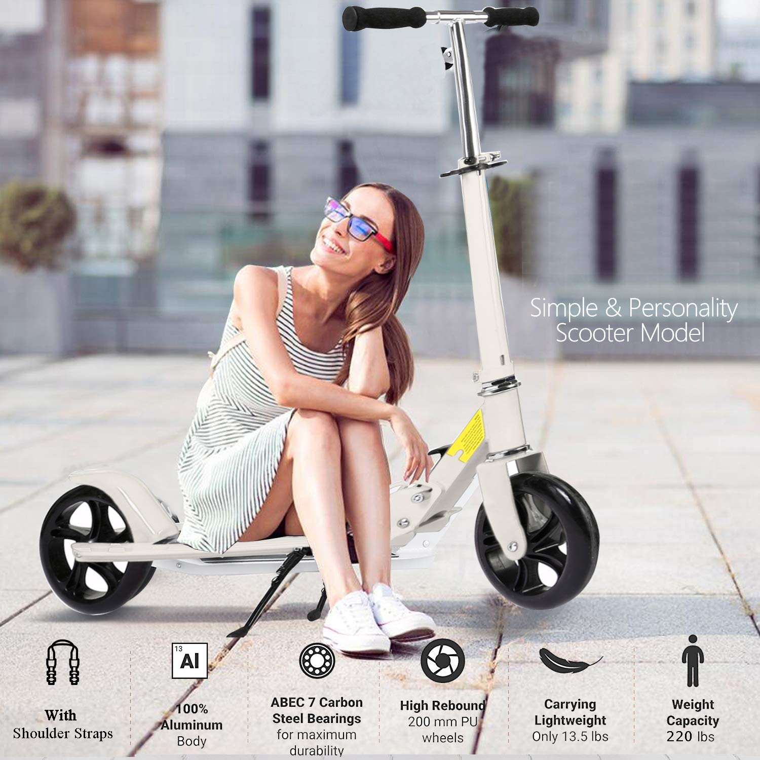OppsDecor Adult Scooter with 3 Seconds Easy-Folding System 200mm Big Wheels Teens Commuter Scooter, 220lbs Adjustable City Scooter Age 8 Up (White) by OppsDecor