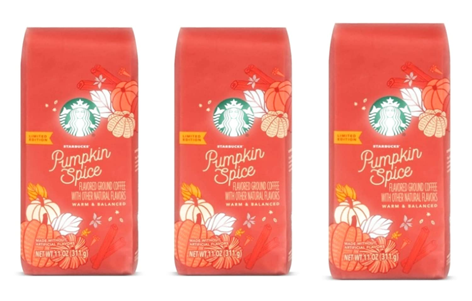 Starbucks 2019 Pumpkin Spice Ground Coffee - Pack of 3 Bags - 11 oz Per Bag - Limited Edition Flavored Coffee - Warm & Balanced