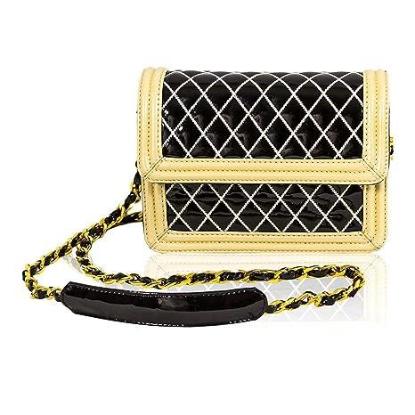 Valentino Orlandi diseñador Italiano Negro/Blanco de Cuero Acolchado Mini Monedero Crossbody Messenger Bag
