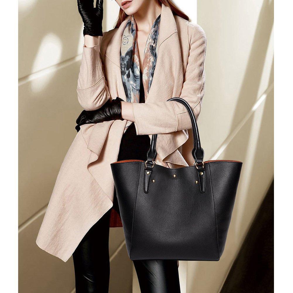 3e297ccaf0ac6 VECHOO 2in1 Damen Handtasche Elegant Shopper tasche groß Weich Leder  Schultertaschen Henkeltasche Umhängetasche mit Abnehmbare Leder ...