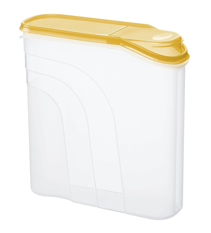 Rotho 1723004411, Contenitore per cereali, in plastica, con coperchio e tappo versatore, capacità: 4,1 l, privo di BPA e sostanze nocive, ca. 26,5 x 9,5 x 26 cm, Trasparente/Giallo (transparent/gelb)
