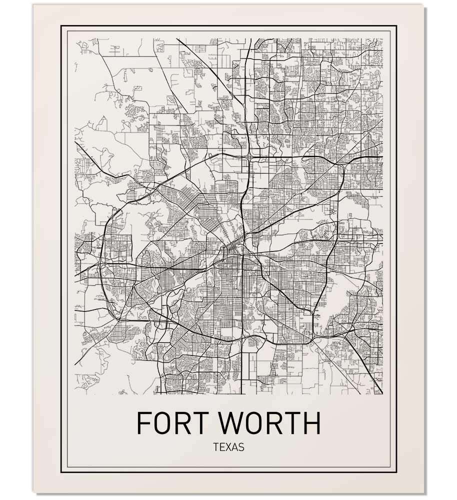 Amazon.com: Fort Worth Poster, Fort Worth Map, City Map ...