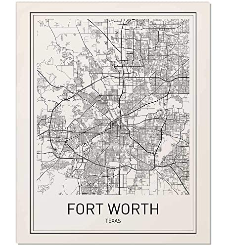 Amazon.com: Fort Worth Poster, Fort Worth Map, City Map Posters ...