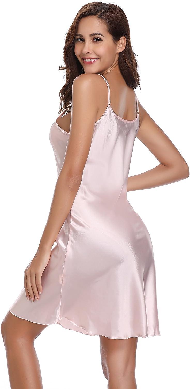 Vlazom Women Negligees Satin Nightdress Spaghetti Strap Chemises Slip V Neck Sleepwear Nightgown