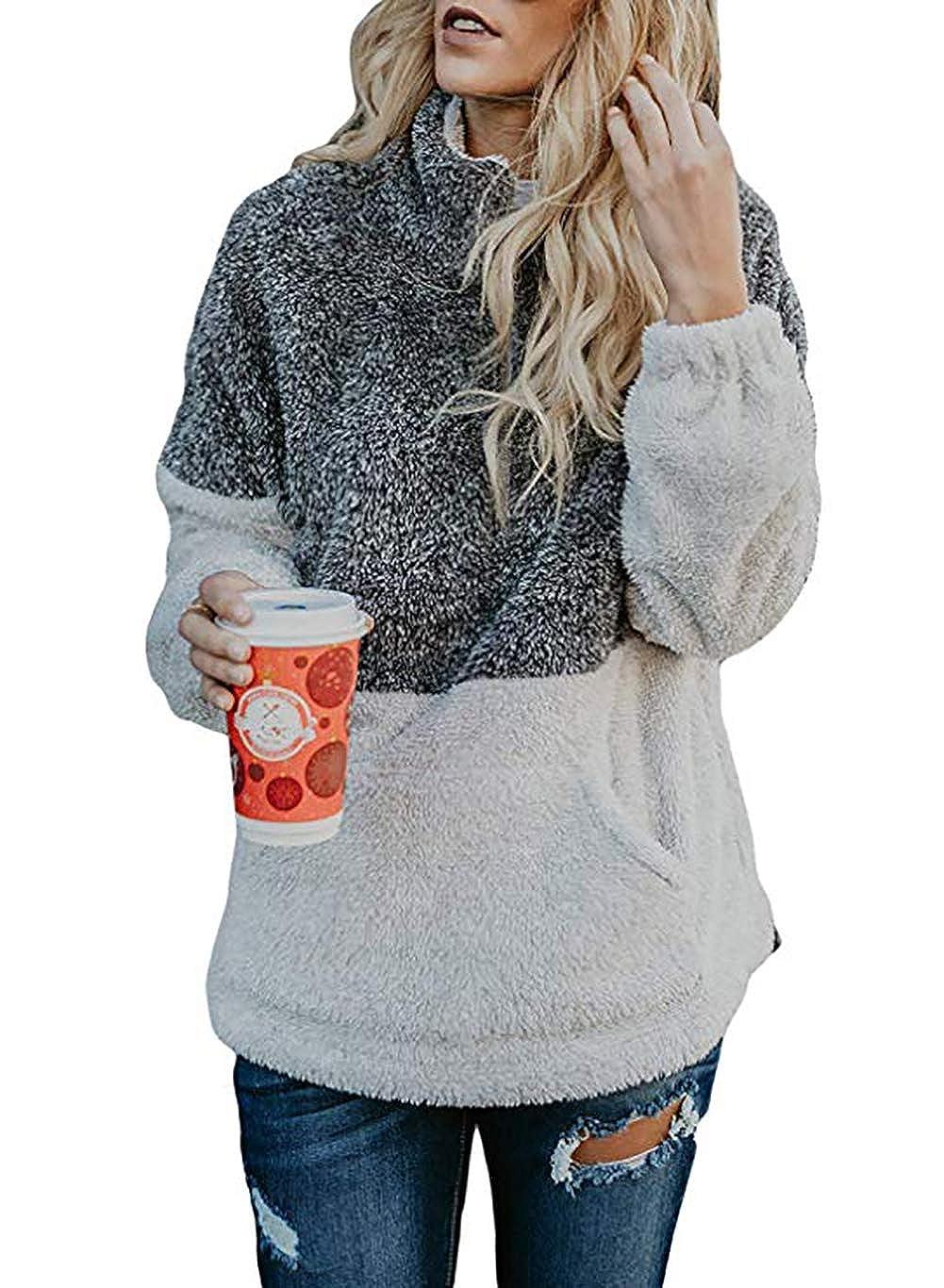 9daeea60d67 Features  Long Sleeve 1 4 Zipper Long Length High Collar Stand  Collar Pocket Contrast Color Sherpa Fleece Pullover Sweater Sweatshirts  Outwear Jacket Coat
