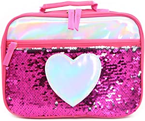 Sequin Lunch Box Bag Insulated Lunch Food Tote Bag Reversible Sequin Mermaid Carry Bag Resistant Cooler Working School Picnics Love Heart Food Storage Bag for Women Man Girl Kids (Rose Red)