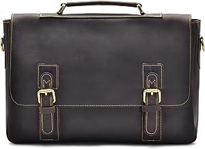 """Hølssen Men's Leather Satchel Briefcase (Genuine) Vintage Crossbody 15"""" Laptop Bag"""