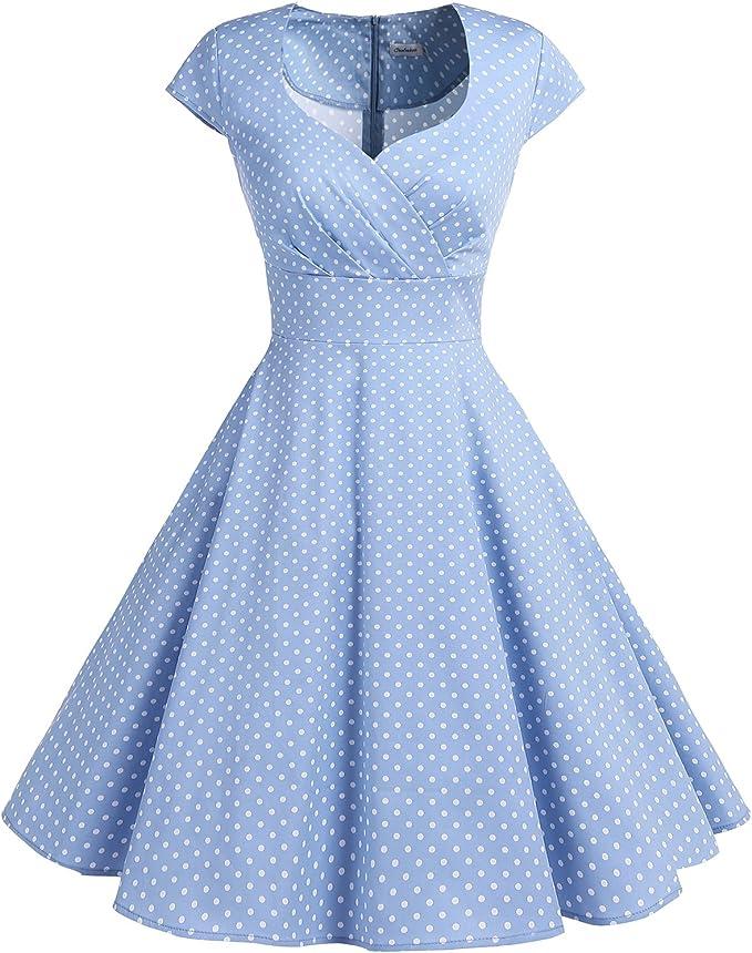 TALLA 3XL. Bbonlinedress Vestido Corto Mujer Retro Años 50 Vintage Escote Blue Small White Dot 3XL