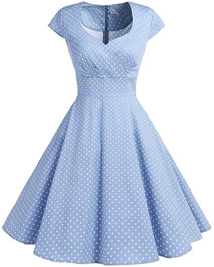 d17296c5296af Bbonlinedress Women Short 1950s Retro Vintage Cocktail Party Swing Dresses  Blue Small White Dot XL