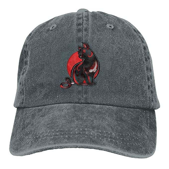 Presock Gorras De Béisbol Red Striped Cat On The Body Denim Hat Womens Fitted Baseball Hats