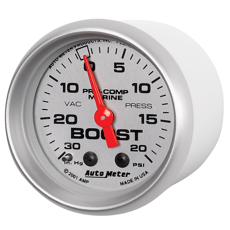 AutoMeter Auto Meter 200774-33 Ultra-Lite Gauge, Vac/Boost, 2 1/16'', 30Inhg-20Psi, Mechanical, Marine Silver by Auto Meter