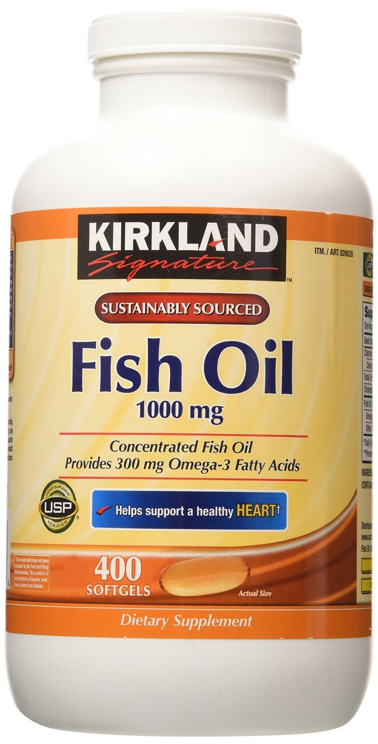 Kirkland Signature Natural Fish Oil Concentrate with Omega-3 Fatty Acids, 400 Softgels, 1000mg 5 Pack