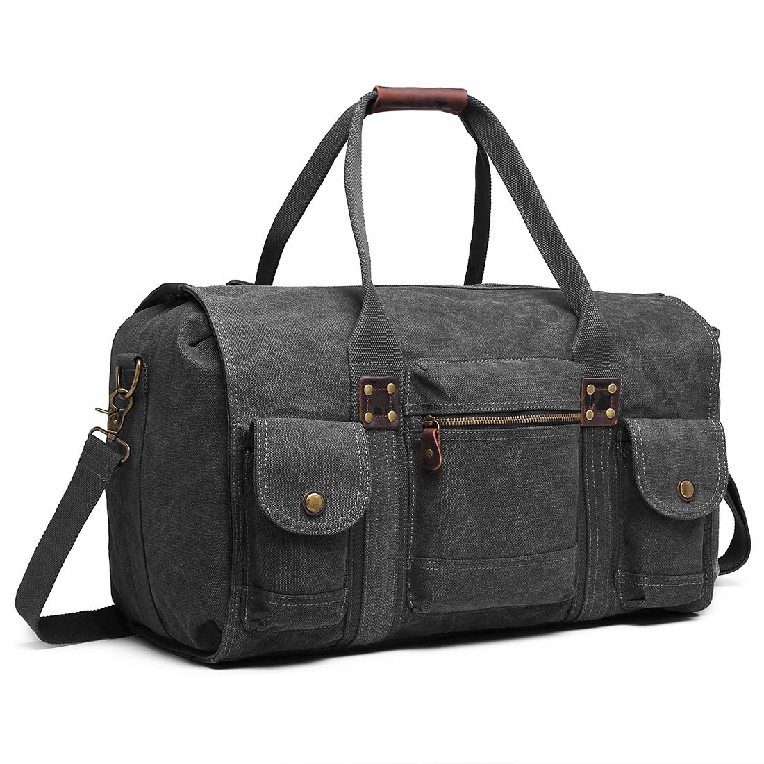 a4b6ec08f Canvas Duffle Bag Oversized Genuine Leather Weekend Bags for Men and Women  (Black2)