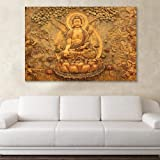 Inephos Unframed Canvas Beautiful Buddha Religious Art Wall Painting (91 cm x 61 cm, Multicolour)