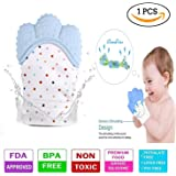 Teething Mitten for Infants, Baby Boys & Girls, Silicone Teething Mitt Teether Gloves BPA Free, Teething Toys, Ideal Baby Shower Gift (Single Piece) Sky Blue