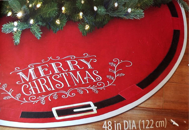 "Merry Christmas /& Santa Belt 48"" Red Tree Skirt ~ Embroidered ~NEW"