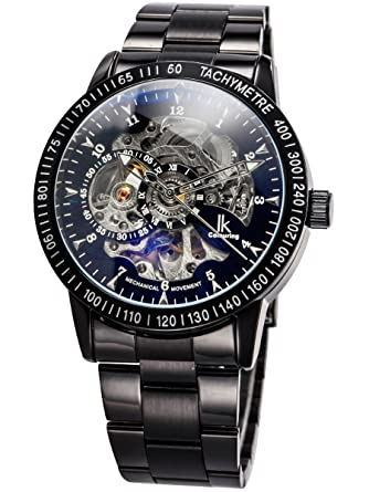 Alienwork IK Reloj Mecánico Automático Relojes Automáticos Hombre Mujer Acero Inoxidable Negro Analógicos Unisex Impermeable Esqueleto: Amazon.es: Relojes